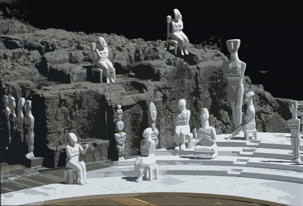 Cycladic statues set up as stage props in Greek theater in Syracuse, Sicily.