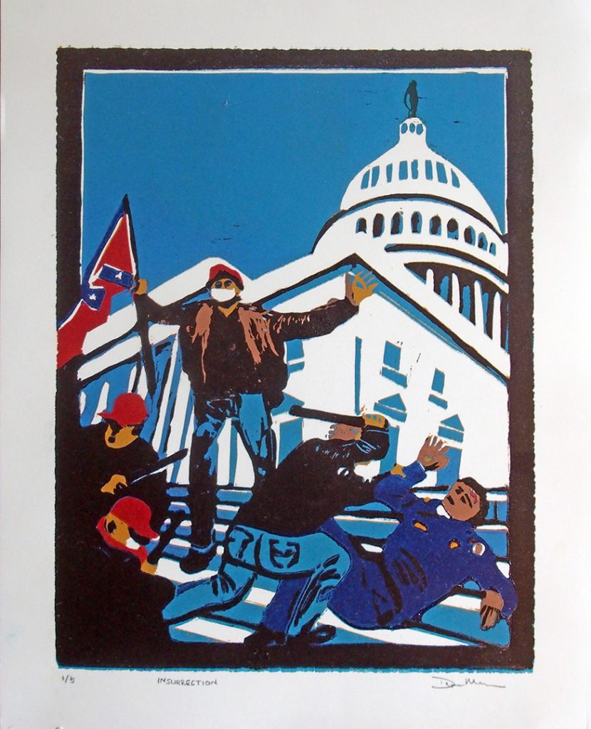 Contemporary, Reduction Relief Print, Capitol Riot