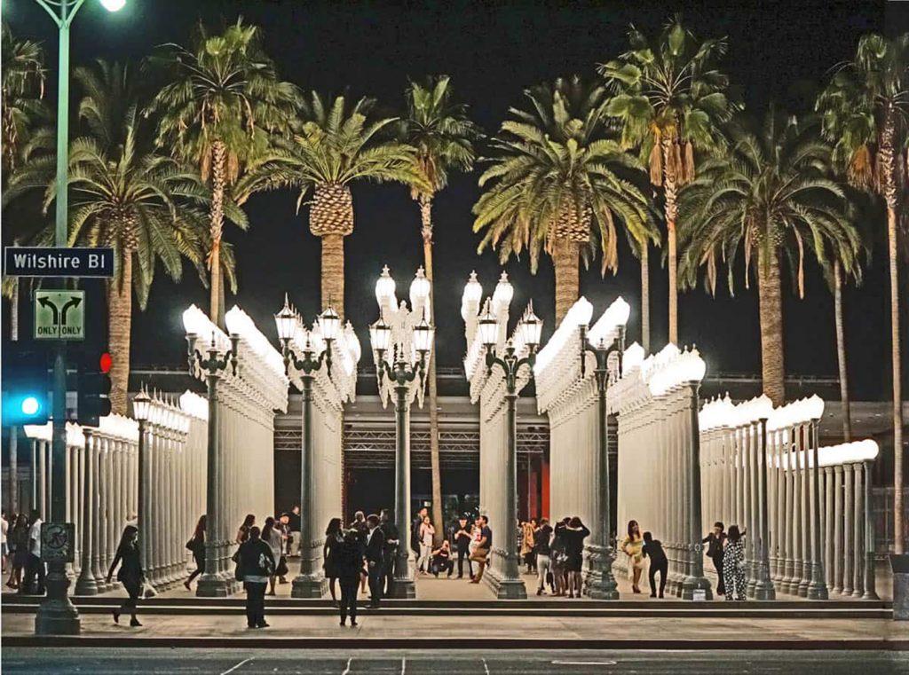 Wilshire Bl, taken in Los Angeles, California, Museum exhibit of lights