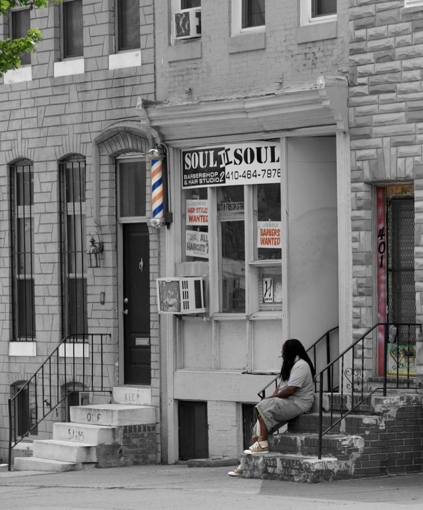 Baltimore, some stoops are marble, some not.  The Soul II Soul barber shop not so much