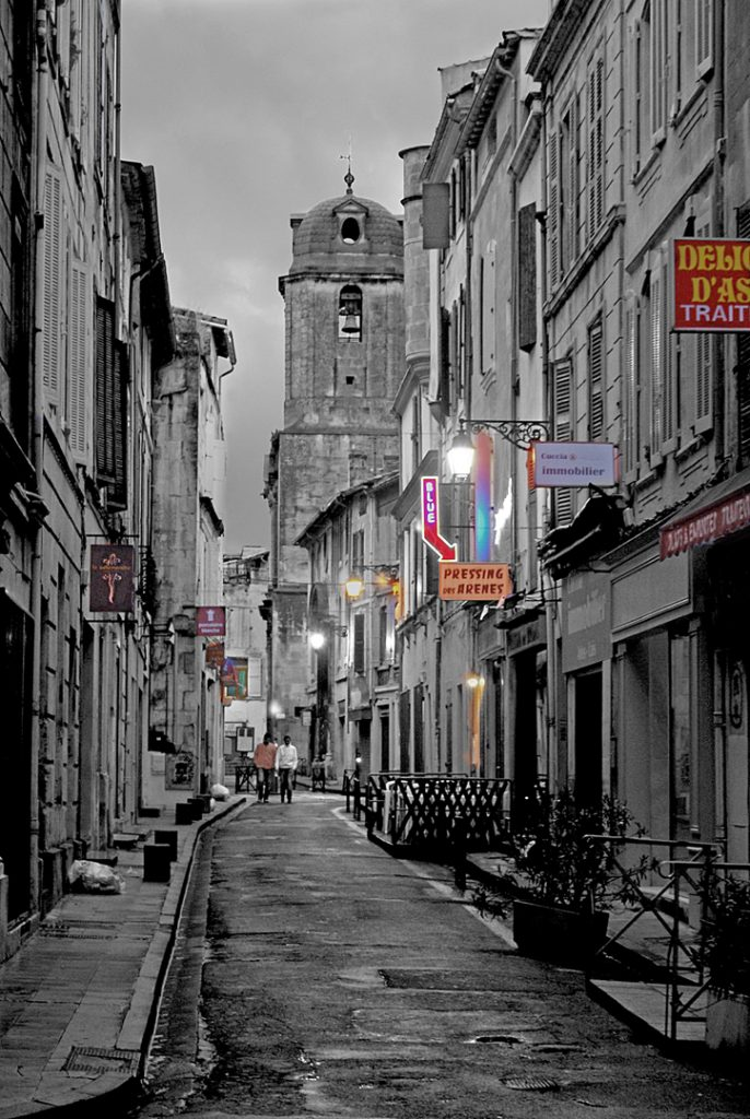 A street in Arles , Provence, France on a damp rainy evening